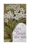 Front Cover Of a Set Of New Year Greetings Cards With a Floral Decoration and Lilac Frame