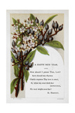 New Year Greetings Card With Floral Decoration and Poem by G Herbert