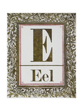 Letter E: Eel Gold Letter With Decorative Border
