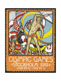 The March Of the Nations  Each Athlete Waving a Flag Sweden 1912 Olympic Games Poster Stamp