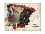 Map Of Spain and Portugal Represented As a Matador and Bull