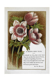New Year Greetings Card With Floral Decoration and Poem by R N Milnes