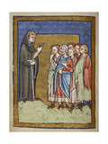 Miniature Of Cuthbert Preaching To Gathered People From the Village