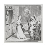 Engraving Of a Woman Being Proposed To by a Man On One Knee While Another Walks Away
