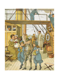 Crossing the Channel Colour Illustration Showing a Family On Board a Passenger Ship