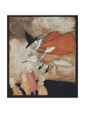 Old Mother Goose  Flying Over Some Children in a Red Cape and Black Hat