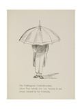 Man Holding Umbrella From a Collection Of Poems and Songs by Edward Lear