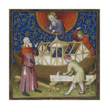 (miniature) the Building Of the Ark God Watching From Above Carpenters Working On the Ark