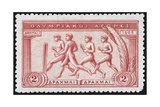 A Group Of Athletes Running Greece 1906 Olympic Games 2 Drachma  Unused