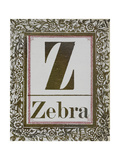 Letter Z: Zebra Gold Letter With Decorative Border