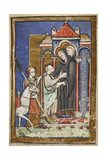 Miniature Of Young Cuthbert Being Welcomed and Embraced by Boisil When Arriving at Melrose Abbey