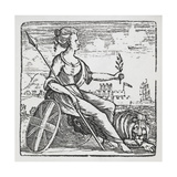 Female Allegory Of Britannia With a Spear  Union Jack Shield and Lion