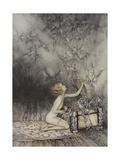 Pandora Opening a Box, From Which Flies Bats Giclée par Arthur Rackham