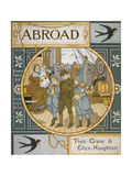 Front Cover Of 'Abroad' Coloured Illustration Showing a Family On the Deck Of a Ship