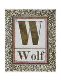Letter W: Wolf Gold Letter With Decorative Border