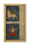 A Tiger  With the Sun Behind It a Seated Human Figure