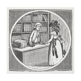 Engraving Of a Woman and Shop Assistant at a Book Shop