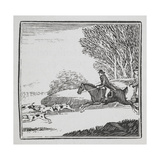 Engraving Of a Man Out Hunting On Horseback With Dogs