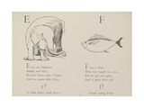 Elephant and Fish Illustrations and Verse From Nonsense Alphabets by Edward Lear