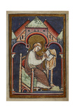 A Tonsured Seated Scribe  Probably Bede  Writing
