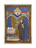 Miniature Of Cuthbert Discovering Three Loaves Of Bread in a Previously Empty Storehouse