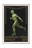 A Naked Athlete Running Germany 1916 Berlin Olympic Games Poster Stamp  Unused