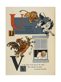 Alphabet Page: U and V the Unicorn and Lion the Cockerel Waking a Priest