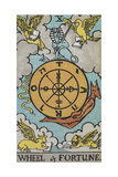 Tarot Card With a Central Wheel in the Clouds