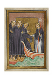 Miniature Of Cuthbert Helping a Monk Who Suffers From Diarrhoea To Enter His Boat As He Departs