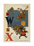 Alphabet Page: W and X Flying Woman With Broom Father Xmas (Christmas)