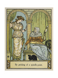 Sleeping Beauty Stands Next To an Old Woman With a Spinning Wheel and Thread