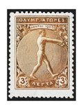 An Athlete Jumping Greece 1906 Olympic Games 3 Lepta  Unused