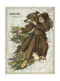 Map Of Ireland Representing St Patrick Driving Out the Snakes