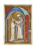 Miniature Of Cuthbert Anointing an Ill Girl With Holy Oil and Healing Her Immediately