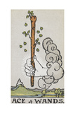 Tarot Card With a White Hand Holding a Large Wand With a Cloud Of Smoke
