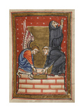Miniature Of Cuthbert Building His Hermitage With the Help Of an Angel On the Island Of Farne