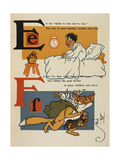 Alphabet Page: E and F a Young Boy  Early To Bed a Thieving Fox