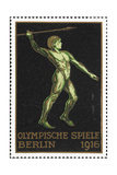 A Javelin Thrower Germany 1916 Berlin Olympic Games Poster Stamp  Unused