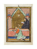 Miniature Of a Sick Man Being Healed While Praying at Cuthbert's Tomb
