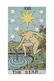Tarot Card With a Nude Woman by a Lake With Vessels Of Water Stars Shine Overhead