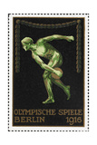 A Naked Discus Thrower Germany 1916 Berlin Olympic Games Poster Stamp  Unused