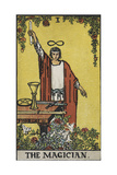 Tarot Card With a Magician Holding an Object Wearing a Red Robe  Before a Table With a Sword