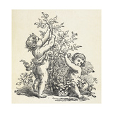 Two Cherubs With a Rose Bush