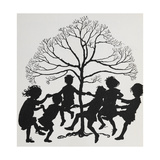 Silhouette Of Children Dancing Around a Tree