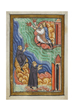 Miniature Of Monks at Cuthbert's Hermitage Signalling With Torches That Cuthbert Is Dead