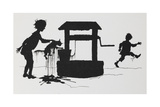 Silhouette Of a Boy Pulling a Cat Out Of a Well