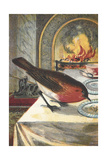 A Robin Eating From a Table in Front Of a Fire