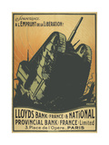 A French Poster Depicting a Tank Breaking Through Barbed Wire