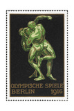 Two Wrestlers Germany 1916 Berlin Olympic Games Poster Stamp  Unused