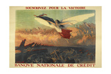 A French Propaganda Poster Showing a Woman Flying in the Air  Holding a Tricolor